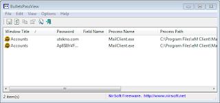 BulletsPassView adalah alat pemulihan sandi yang mengungkapkan password yang disimpan di dalam standar sandi text-box sistem operasi Windows.