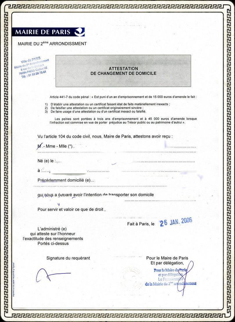 attestation de domicile pdf