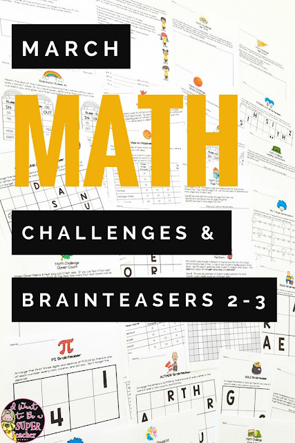 Print-and-go math challenges and brainteasers with holiday and spring themes for March! 25 math printables with answer keys you can use for math groups, homework, fast finishers, holiday centers, or whole class problem solving! March themes include: St. Patrick's Day, leprechauns, rainbows, clovers, March Madness basketball, Pi Day, and Read Across America. Recommended as a challenge for grades 2-3 #secondgrade #thirdgrade #math #education #elementaryeducation #tpt #teacherspayteachers