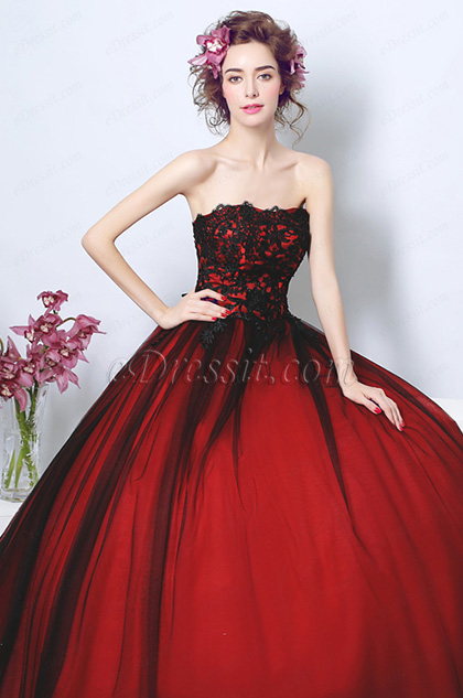 corset red ball dress