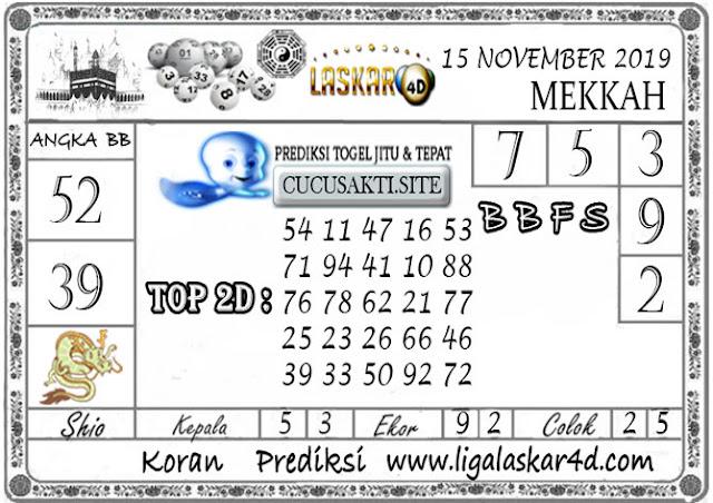 Prediksi Togel MEKKAH LASKAR4D 15 NOVEMBER 2019