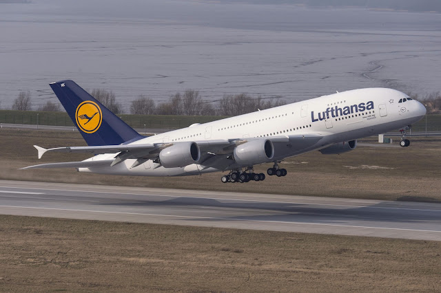 Lufthansa A380-800 Touching Down Runway