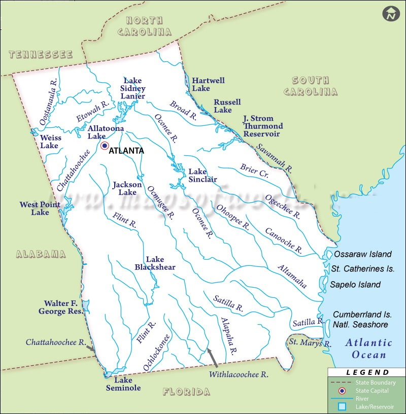 Map Of Georgia State Map Of USA - Map of georgia usa
