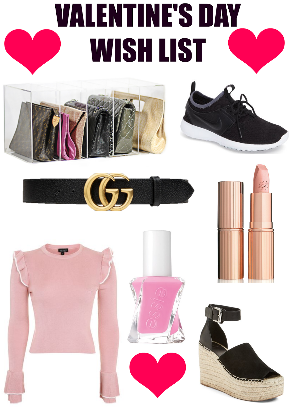 gift guide for valentines day, charlotte tilbury lipstick, nike sneakers, gucci belt, essie gel couture nail polish, glambox, marc fisher espadrilles