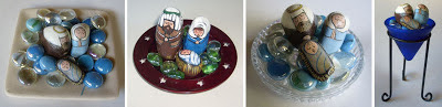 painted rocks, unique nativity sets, nativity scene figures, Cindy Thomas