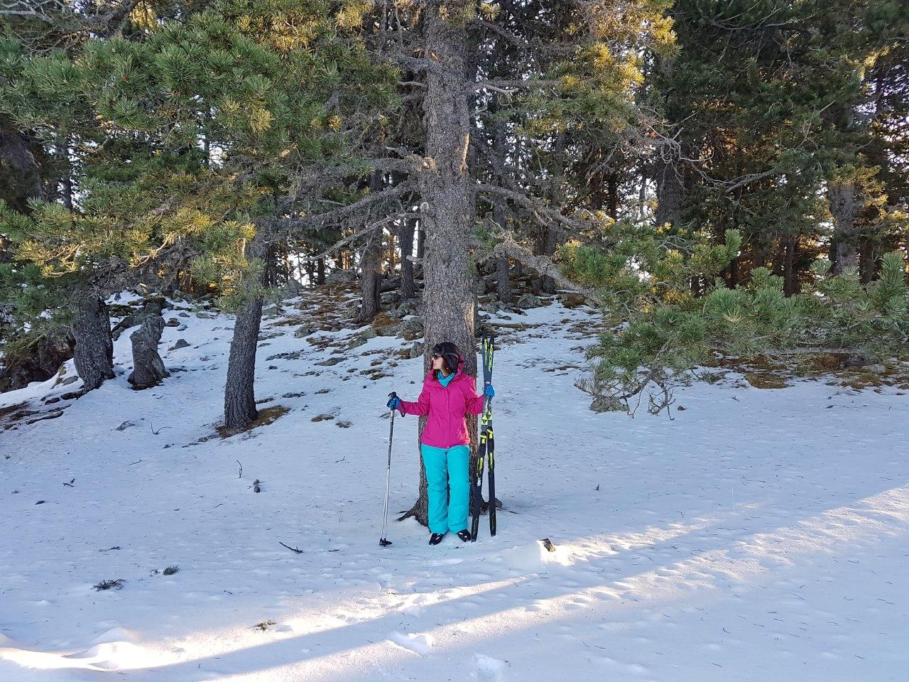 No Naturlândia, com o equipamento de esqui.