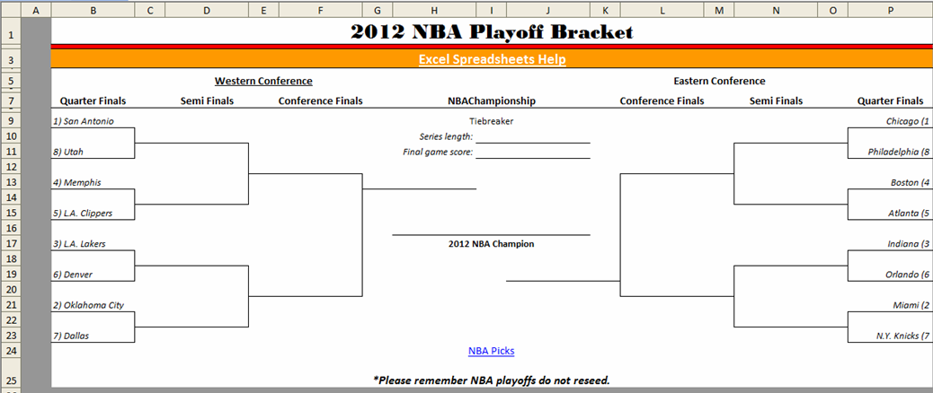 Excel Spreadsheets Help: Downloadable 2012 NBA Playoff Bracket