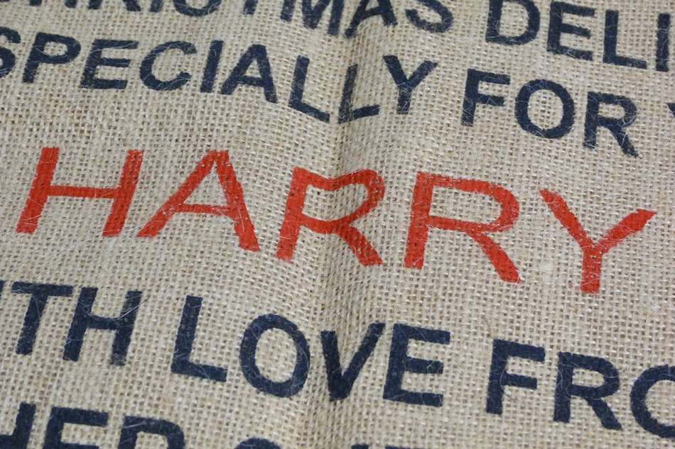 an image of a personalised hessian christmas sack