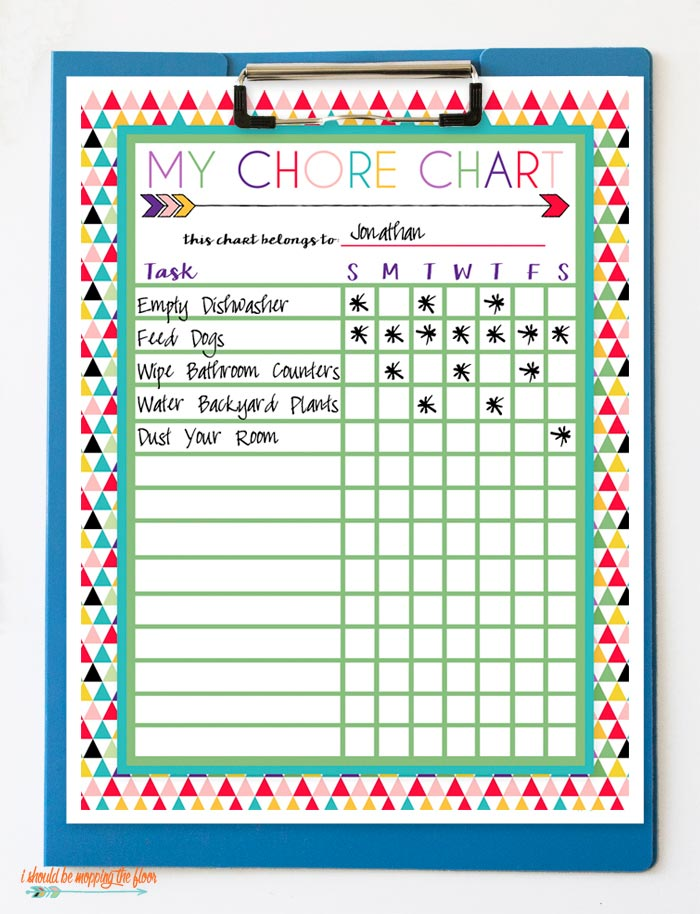 picture relating to Printable Job Chart named Absolutely free Printable Chore Charts i really should be mopping the ground