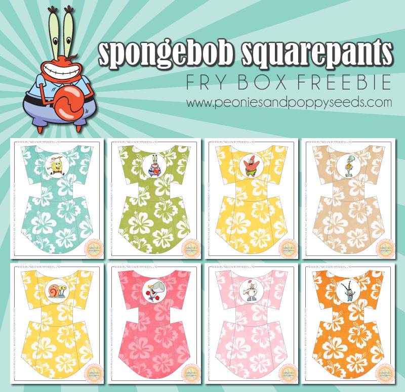SpongeBob SquarePants: Free Printable Fry Boxes.