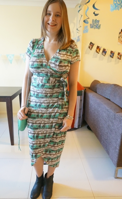 Atmos Here Betsy Jersey Wrap Dress Second Birthday Party Tfeeding Friendly Outfit Away From The Blue