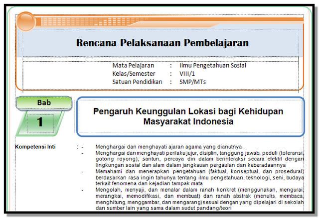 RPP, Silabus , KI dan KD , Prota, Promes KK 2013 IPS Kelas 8 SMP/MTs