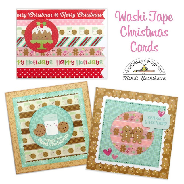 Doodlebug Design Milk & Cookie Washi Tape Holiday Christmas Cards by Mendi Yoshikawa