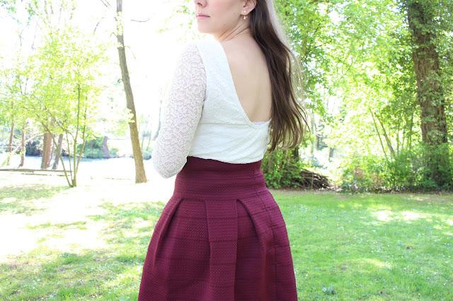 tenue jupe bordeaux h&m