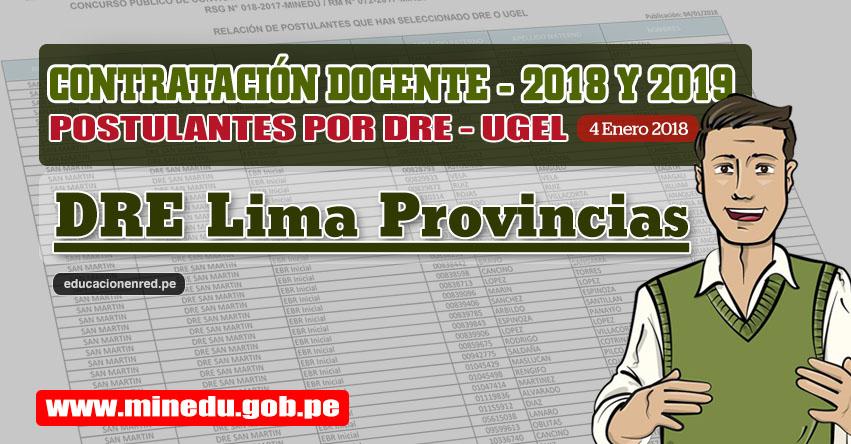 DRE Lima Provincias: Lista de Postulantes por UGEL DRE - Contrato Docente 2018 (.PDF) www.drelp.gob.pe