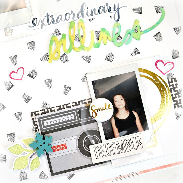 Extraordinary Silliness Layout with Keepsake Envelopes and Instax Photos