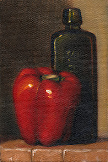 Oil painting of a red pepper beside a green antique schnapps bottle.