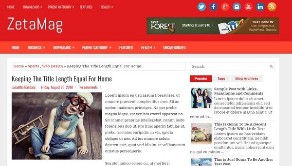 Zeta Magazine Free Blogger Template