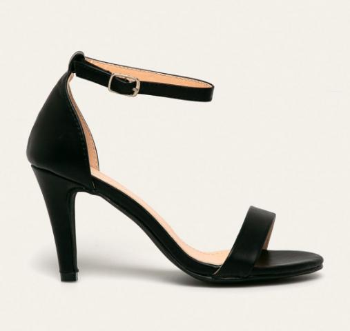 Sandale negre de zi elegante cu toc subtire ieftine si barete subtiri