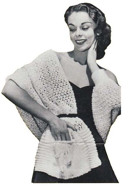 The Vintage Pattern Files: 1950s Free Crochet Pattern - Stole With Pockets