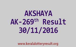AKSHAYA AK 269 Lottery Results 30-11-2016