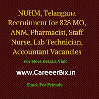 NUHM, Telangana Recruitment for 828 MO, ANM, Pharmacist, Staff Nurse, Lab Technician, Accountant Vacancies