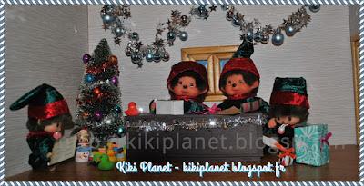 atelier du Père-Noël chez les Monchhichi et Bebichhichi - cadeaux - kiki - bubbles - diana kiki de tous les kiki