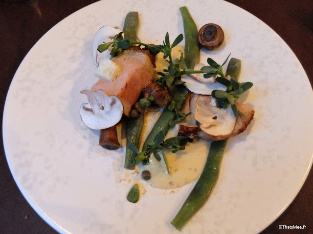 resto bistronomique menu 7 plats le galopin Paris 10eme romain tischenko top chef, plat viande porc basque haricots champignons resto le galopin