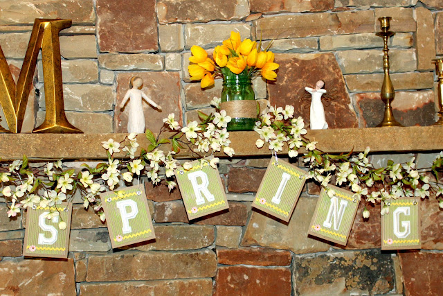 spring banner Joy embroidered letters