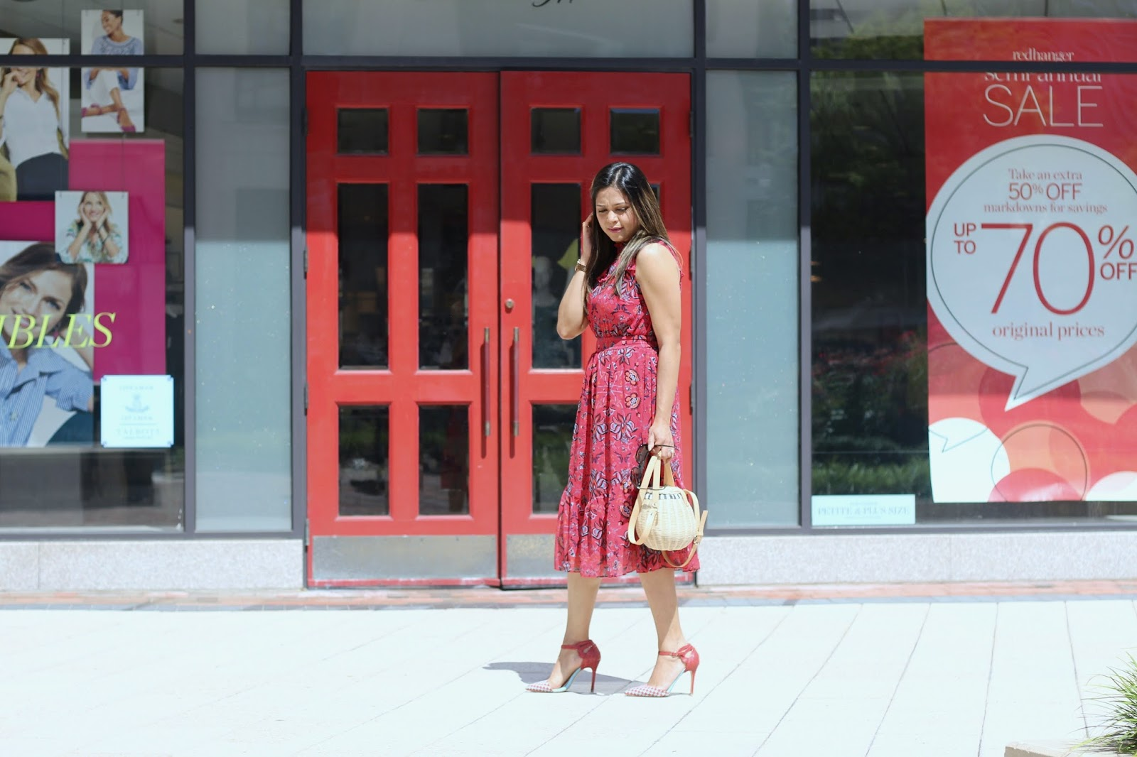 mod cloth, collectively, fashion, style, blogger, summer red dress, paisley printed mod cloth dress, printed look, street style. fashionable, stylish moms, myriad musings, chevy chase stores and restaurants , saumya shiohare