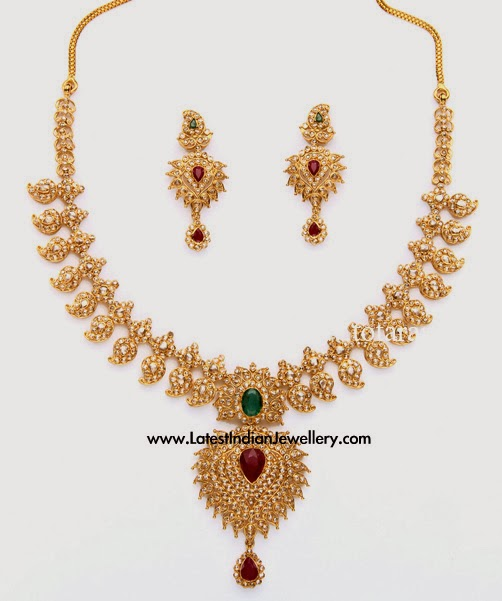 Uncut Diamond Mango Mala Set