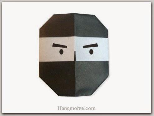 Cách gấp, xếp mặt Ninja bằng giấy origami - Video hướng dẫn xếp hình Halloween - How to fold a Ninja
