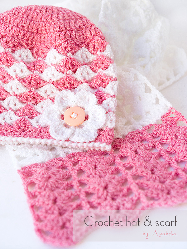 Anabelia craft design: Baby crochet hat and scarf, free pattern