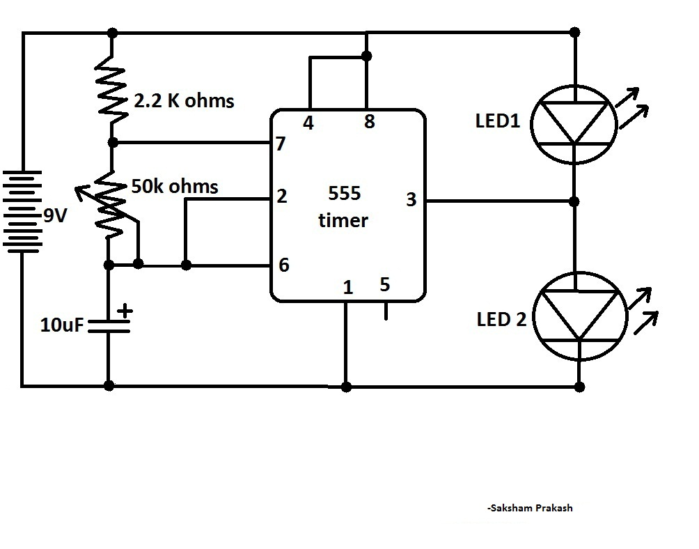 555 timer flashing led circuit