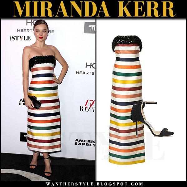 Miranda Kerr in striped strapless dress carolina herrera what she wore red carpet