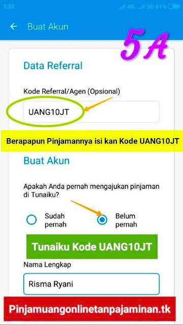 Langkah ke  Lima langkah penting mengajukan pinjaman di Aplikasi pinjaman Tunaiku kode agen UANG10JT