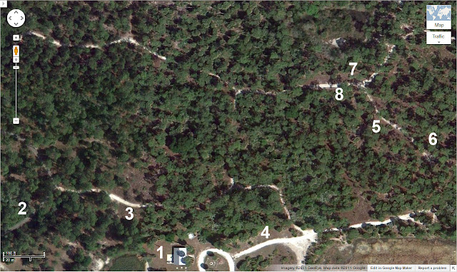 Aerial map of the western portion of the Okeeheelee County Park Nature Center
