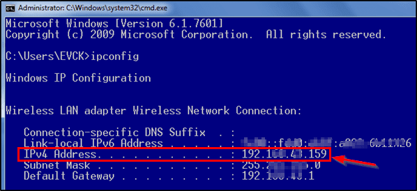 IPv4 address dikhayi dega