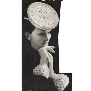 Vintage 1940s Crocheted Flat Top Hat