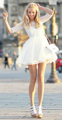 Pretty white dress for street style