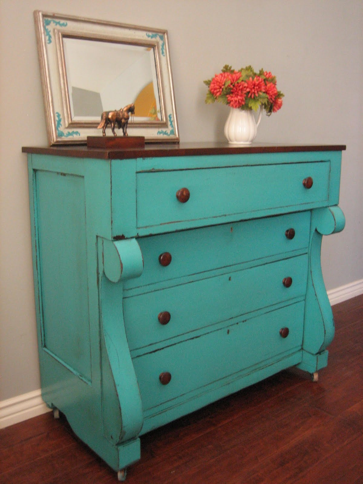 european paint finishes teal chest of drawers. Black Bedroom Furniture Sets. Home Design Ideas