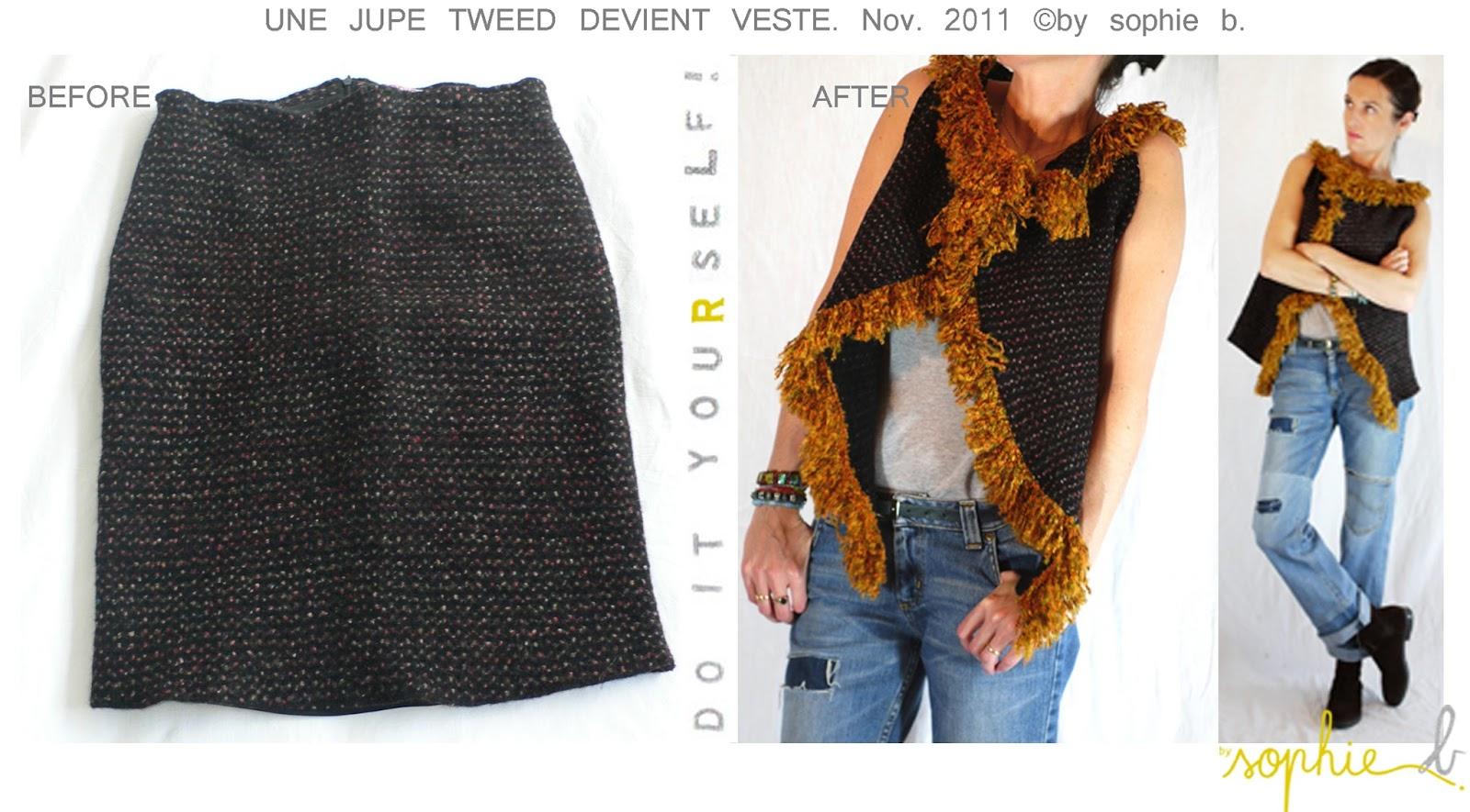 eeaad14b559b a  A la base, une jolie petite jupe droite, en laine bouillie légèrement  chinée et épaisse, doublée, se fermant par zip au dos.