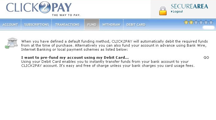 CLICK2PAY Account Fund Screen