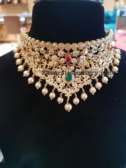 Gold Broad CZ Bridal Choker