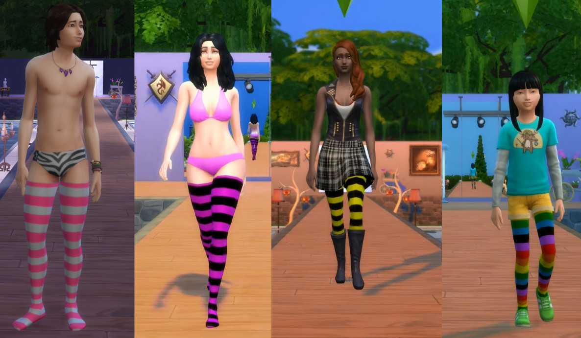My Sims 4 Blog: Striped Stockings for Men and Women Teen