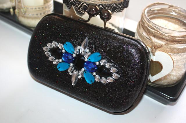 Bolso joya azul y negro clutch