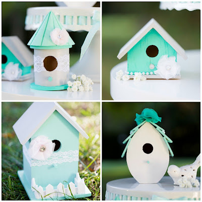 Beautiful idea for a DIY garden wedding. Painted decorative bird houses.