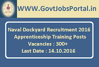 Naval Dockyard Recruitment 2016 for 300+ Apprenticeship Training Posts Apply Here