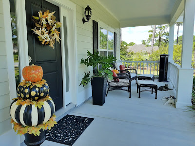 fall decorating with foam pumpkins