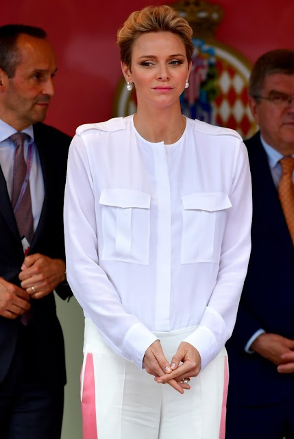 Prince Albert and Princess Charlene attends the Monaco Formula 0ne Grand Prix at Circuit de Monaco. Daniel Ricciardo of Australia and Red Bull Racing and Lewis Hamilton of Great Britain, Sergio Perez of Mexico and Force India, Mercedes AMG Petronas F1 Team's British driver Lewis Hamilton